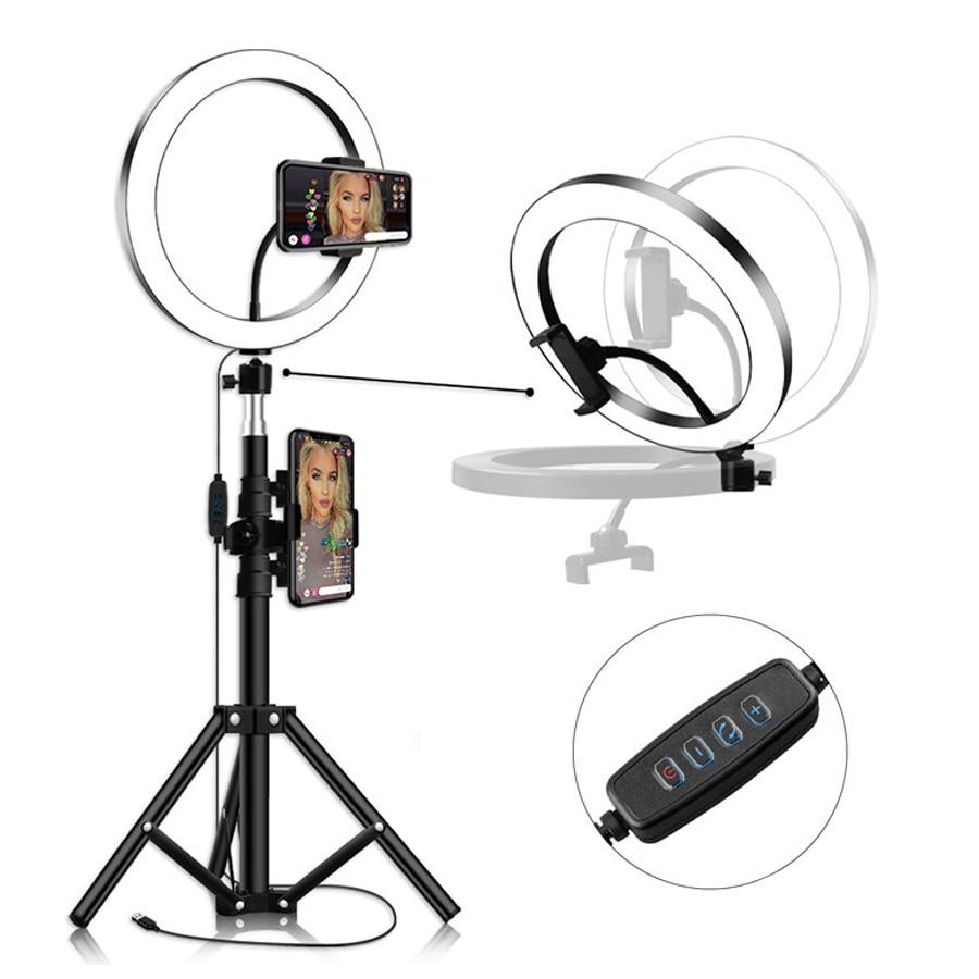 LED Ring Light 16cm 26cm Dimmable Selfie Ring Lamp Photographic Lighting With Tripod Phone Holder USB Plug Photo Studio