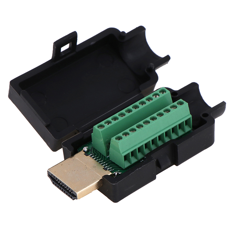 HD Solderless Head HDMI Male 19P Plug Breakout Terminals Solderless Connector With Black Cover Transfer Terminal