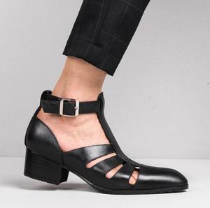 Новинка; Летние мужские сандалии из натуральной кожи на высоком каблуке 5 см; Визуально увеличивающие рост мужские туфли; Модные босоножки с...