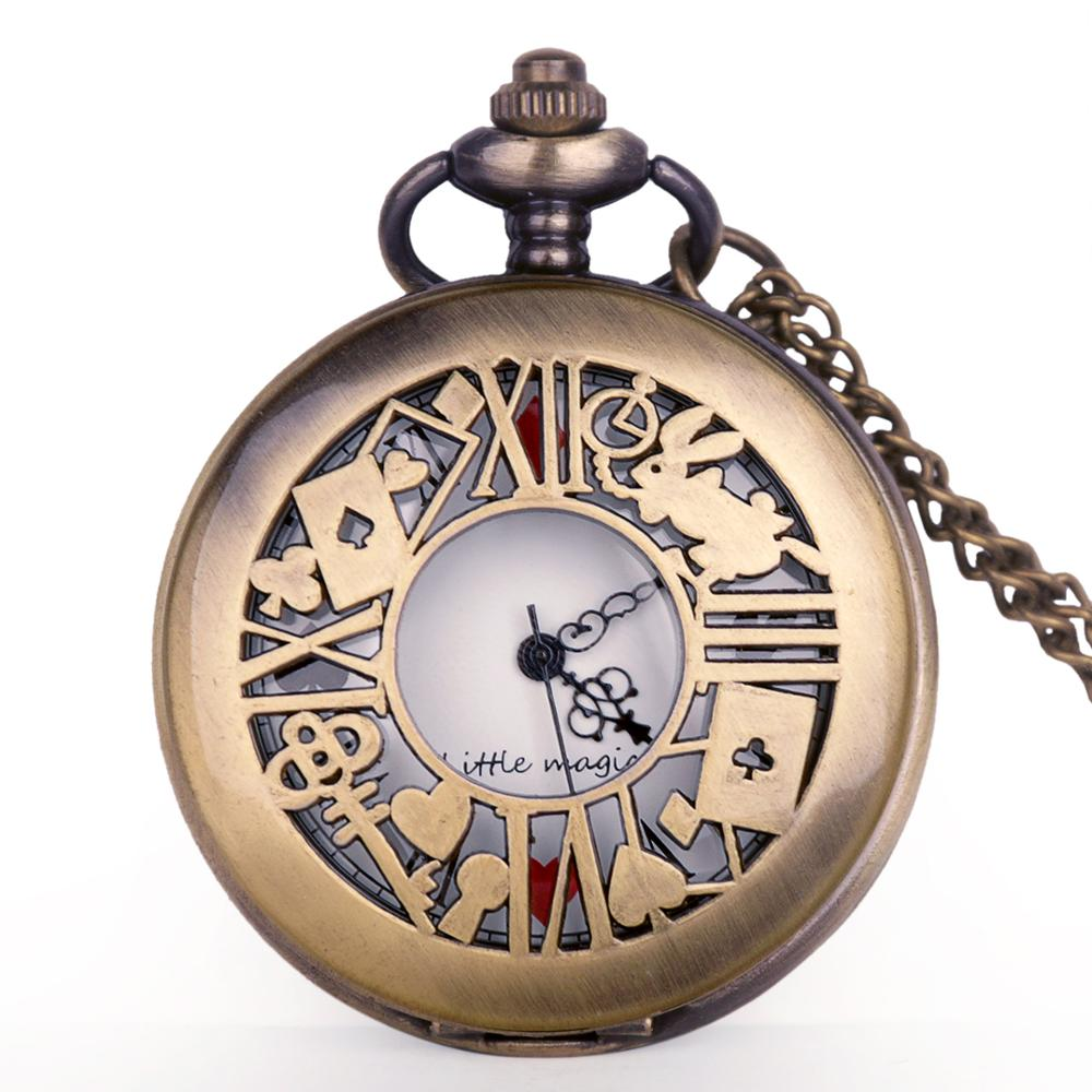Quartz Pocket Watch Alice In Wonderland Pattern Pendent Necklace Chain Fob Watch Clock Reloj De Bolsillo