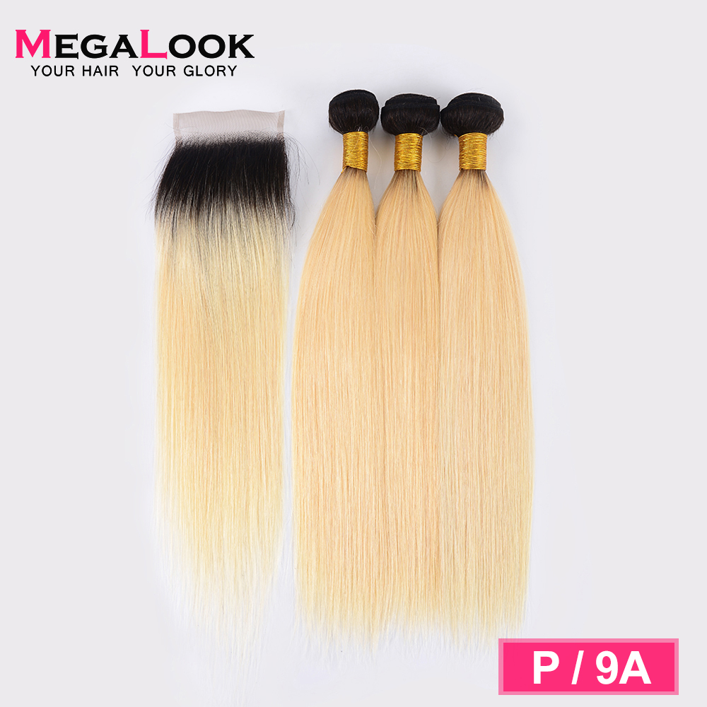 Megalook 1B/613 Hair Bundles With Closure 3pcs Indian Honey Blonde Straight Remy Human Hair With Closure