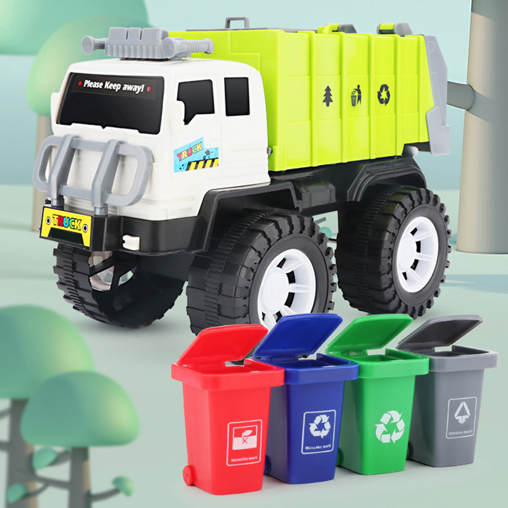 New City Cleaning Garbage Truck Toy Children Alloy <font><b>Car</b></font> <font><b>Model</b></font> <font><b>Diecast</b></font> Toys Gift with 4 Waste Recycling Bins image
