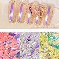 Стикеры «Аврора» для дизайна ногтей, длинные стеклянные симфонические бумажные зеркальные наклейки с лазерной печатью в упаковке, разные ц...