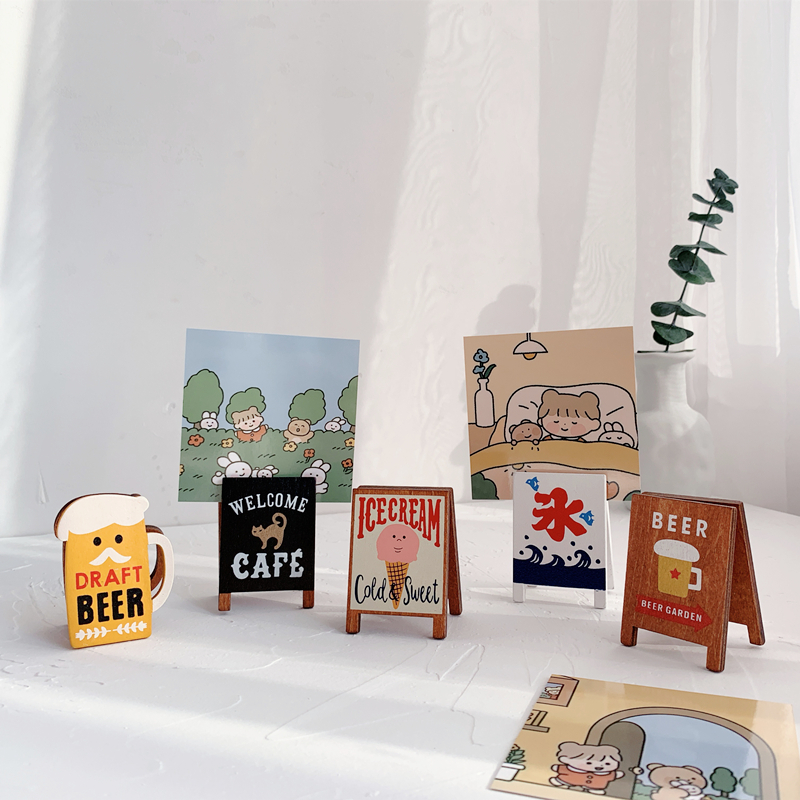 Sharkbang Vintage Coffee Beer Wooden Memo Holder Clip Photo Card Stand Folder Clip Decorative Clip Kawaii Stationery