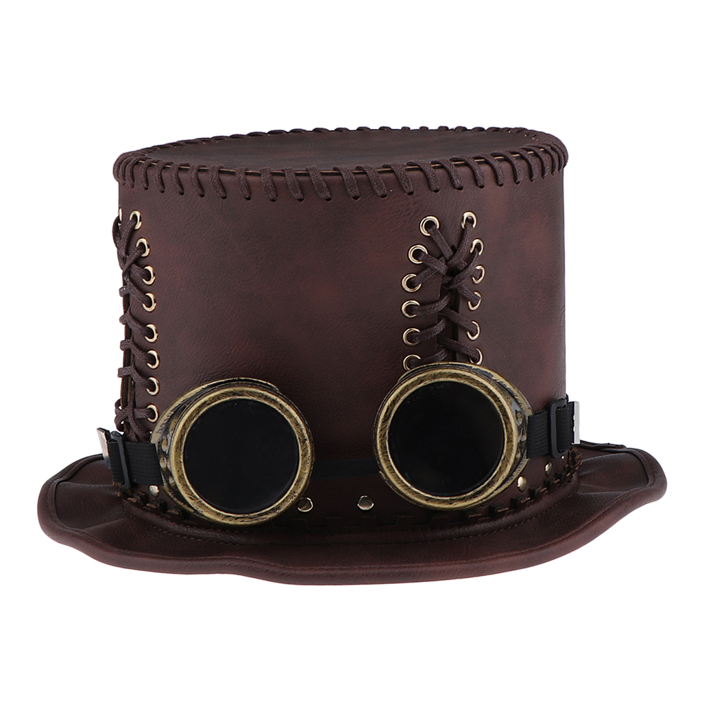 Adults Steampunk Gear Punk Hat with Goggle Victorian Fancy Dress Accessories