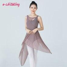 Vestido de tutú de Ballet sin mangas para mujer, Mallas de gimnasia de Ballet para mujer, traje de baile lírico de malla, ropa de baile contemporáneo