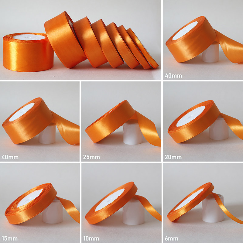 25Yards/ 6mm-50mm Orange Yellow Silk Satin Ribbon DIY Material For Prom Decoration Wedding Gift Box Packaging Accessories D7