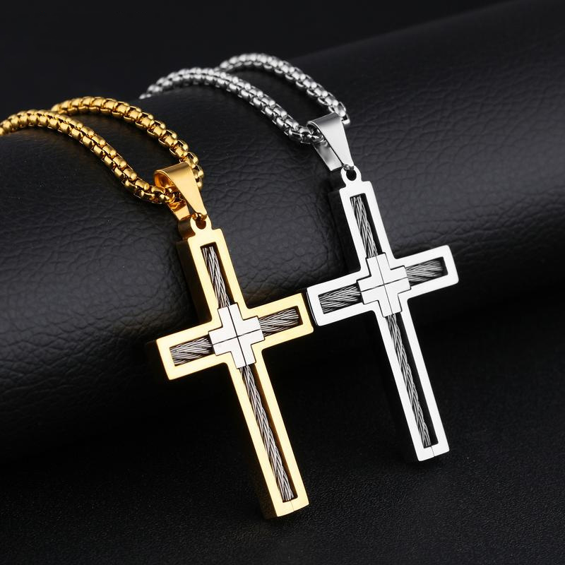 2020 Fashion Cross Necklace Pendant For Men High Quality Titanium Steel O-chain 2 Color Pendant Male Hip Hop Jewelry Gift
