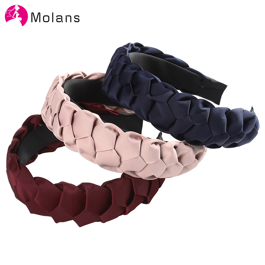 Molans Elegant Solid Braiding Hairbands Black Navy Simple Braids Fabric Women Headbands Personalize Wide Hair Hoops