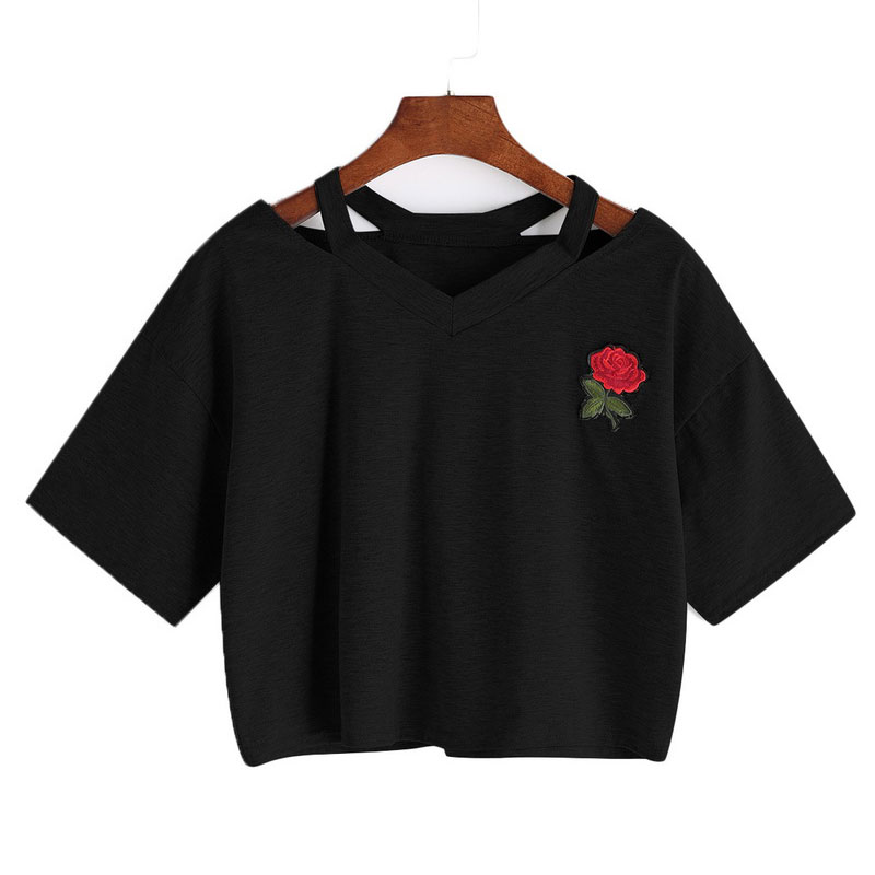 Women Short Floral   T     Shirt   Summer Sexy Hollow Out Short Sleeve Casual Black White Crop Top Rose Embroidery   T  -  shirt   New