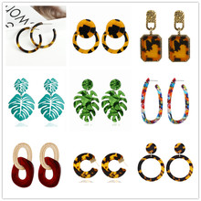 Fahsion leopard print long drop earrings for women tortoiseshell acetate resin acrylic leaf circle geometric earring pendientes