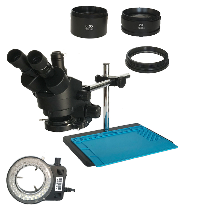 Black Color 3.5X-90X Industrial Trinocular Stereo Microscope 0.5X 2.0X Objective Lens Glass For Cell Phone Electronics Repair