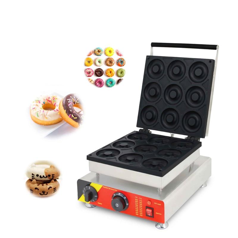 Rosquinhas SUCREXU Comercial máquina de Waffle 9PCS Big Frank Rosquinha Donut Que Faz A Máquina Não-stick Pan 1500W CE