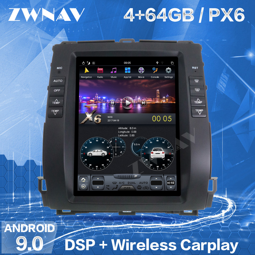 4 + 128G экран Тесла для Toyota Land Cruiser Prado 120 2002-2009 для Lexus GX470 Android плеер GPS радио аудио стерео головное устройство