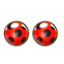 Earrings Circle Jewelry Stud-Glass Ladybug Cabochon Party-Gift Cute Women Animal