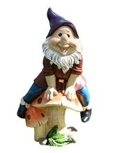Gnomo de jardín de resina divertido, estatua pintada a mano, enanos traviesos, figuritas, artesanías para el hogar, decoración de jardín para regalos de cumpleaños