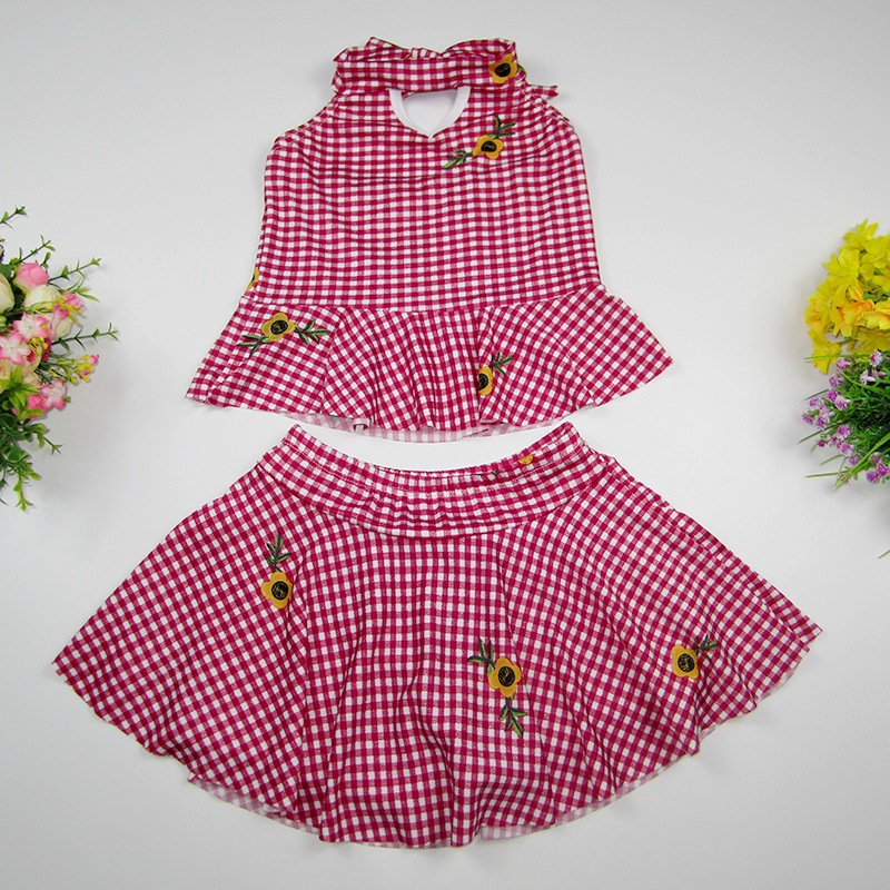 2019 New Style Korean-style KID'S Swimwear Women's Small CHILDREN'S Fashion Plaid Small Floral Split Type Baby Bathing Suit Manu
