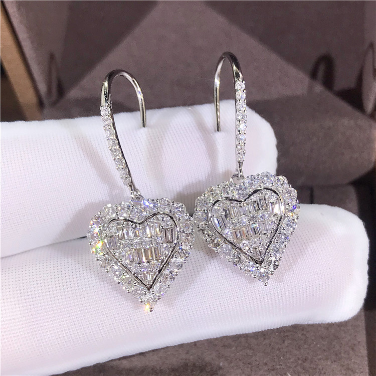 2020 New Fashion Heart 925 Sterling Silver Earings For Girl Lovers Love Party Gift Jewelry Wholesale Moonso E5672