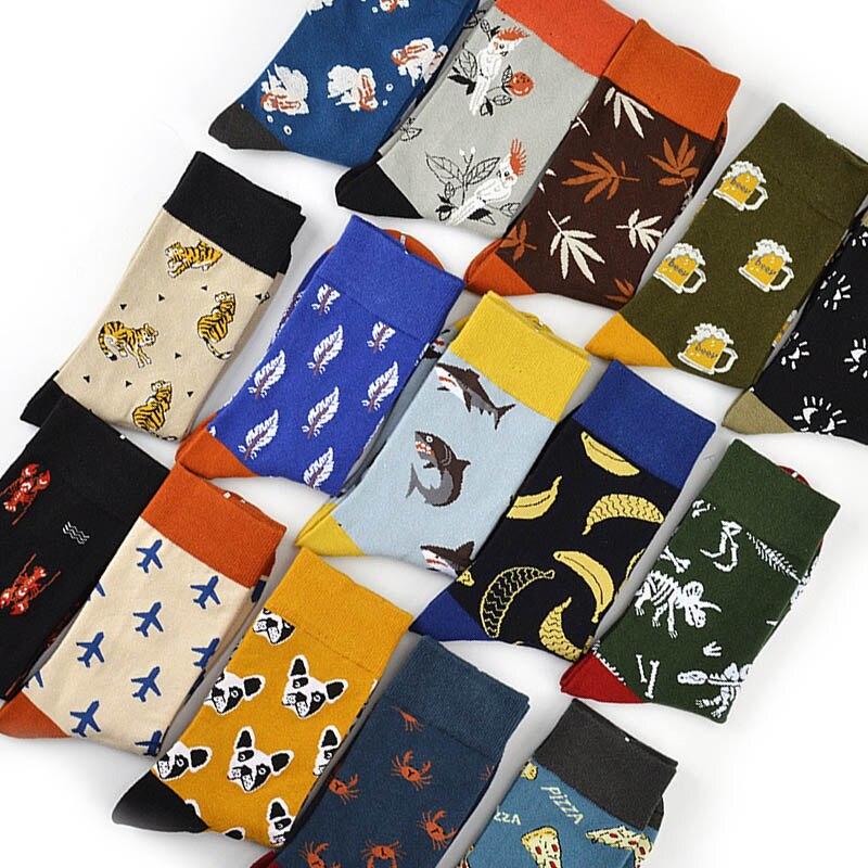 Male Cotton Socks Colored Art Socks Multi Pattern Long Designer StreetWear Hip Hop Happy Funny Skateboard Socks Men's Dress