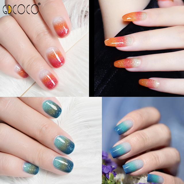 GDCOCO Temperature Change Glitter Color Gel Polish Cool Thermal Magic Effect Nail Varnish Gel Soak Off UV LED Gel Lacquer 6