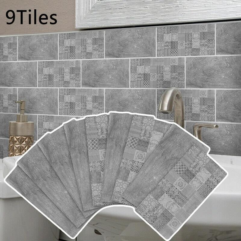 9 x self adhesive kitchen wall tiles bathroom mosaic tile stickers peel stick