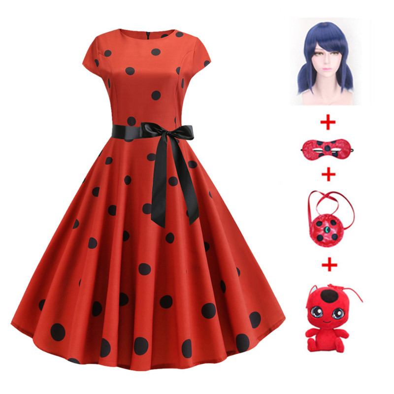 Fantasia  Adult Lady Bug Costumes Women dress Cosplay Marinette Wig Fancy halloween costumes for women adult