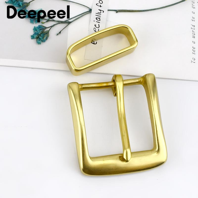 Deepeel 40mm Solid Brass Belt Buckle For Men Women Metal Pin Buckle Head For Belt 38-39mm DIY Leather Craft Jeans Accessories