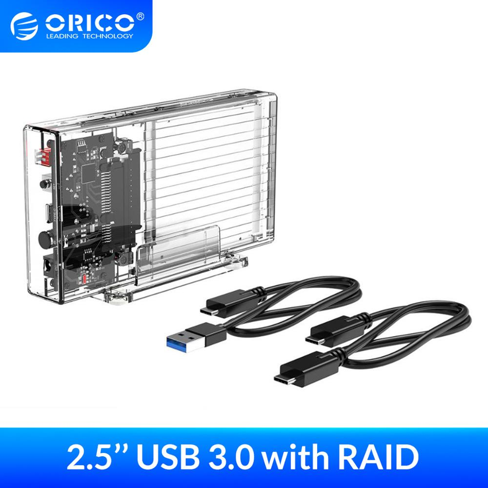 ORICO <font><b>2.5</b></font> inch Hard Drive <font><b>Enclosure</b></font> with <font><b>RAID</b></font> Transparent 5Gbps External SSD Box SATA3.0 HDD Case Support For Windows/Mac/Linux image
