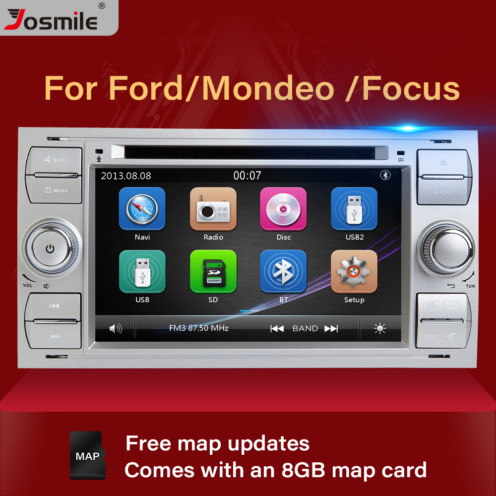 2 din Car Radio <font><b>Multimedia</b></font> For <font><b>Ford</b></font> <font><b>Focus</b></font> 2 3 <font><b>mk2</b></font> Mondeo 4 Kuga Fiesta Transit Connect S-MAXC-MAX DVDGPS Navigation Stereo Audio image