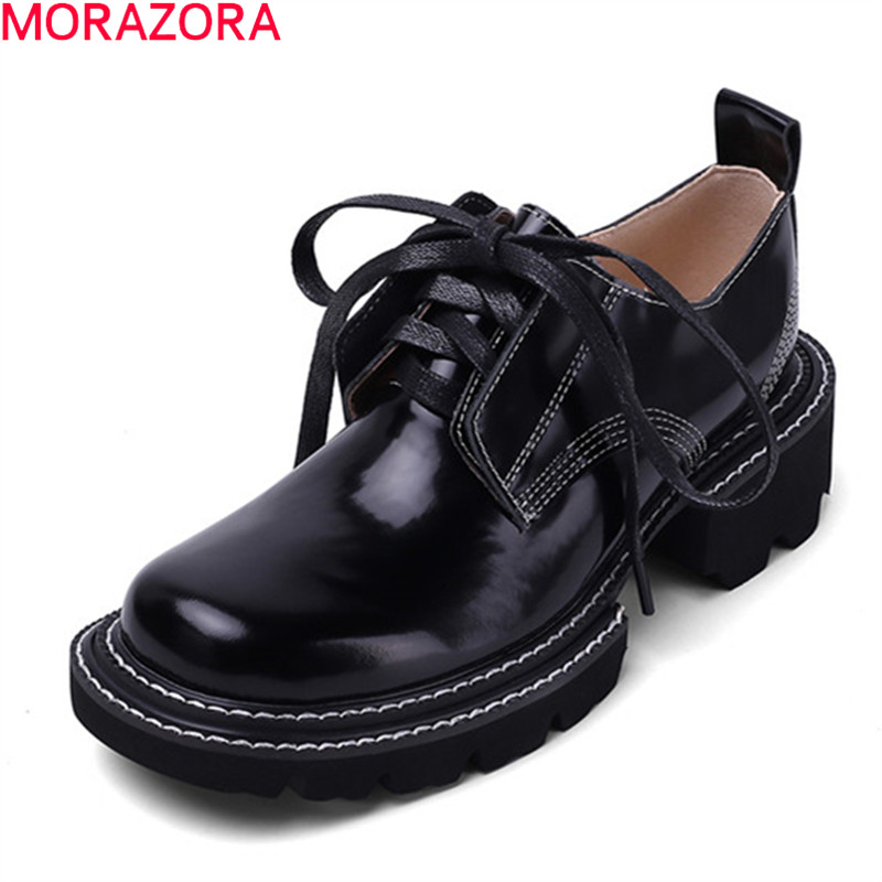MORAZORA Plus Size 34-42 Spring Autumn Women Pumps Genuine Leather Fashion Lace Up Casual Shoes Classic Square Toe Shoes Woman