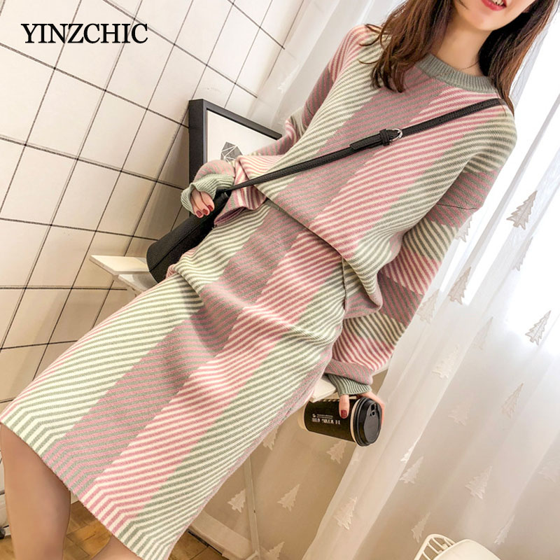 Autumn New Woman Knitted Suits Elegant Female Striped Sweater Pencil Skirt Sets Winter Warm Basic Women