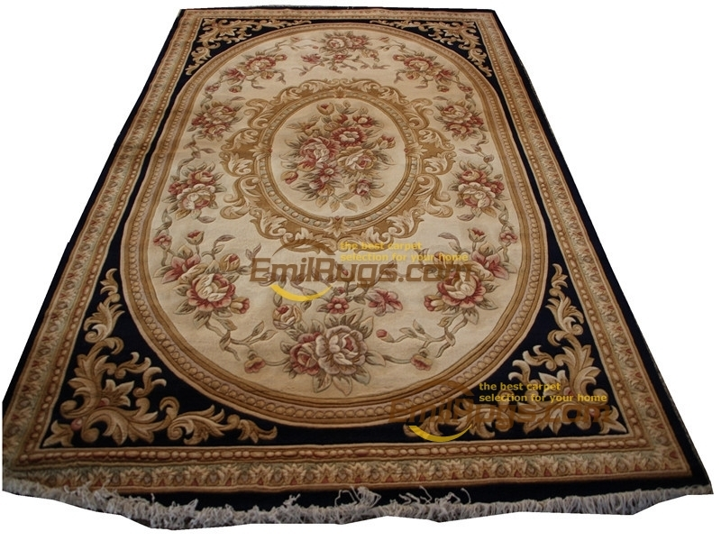 Rose Carpet Wool French Carpet  About Hand-knotted Thick Plush Savonnerie Rug  6.4' X 9.51'