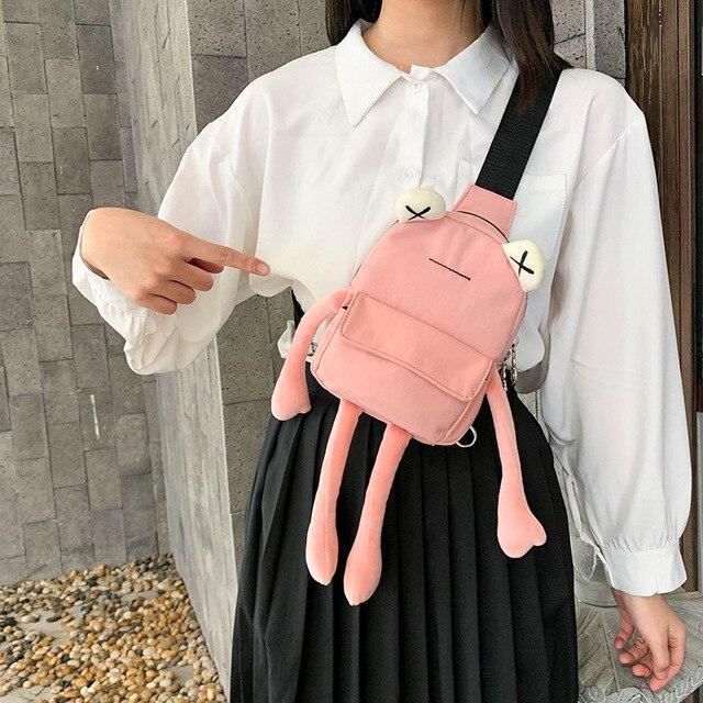 Personality girl small bag tide cartoon cute frog bag casual messenger bag chest bag Unisex shoulder Crossbody bag Women Bag