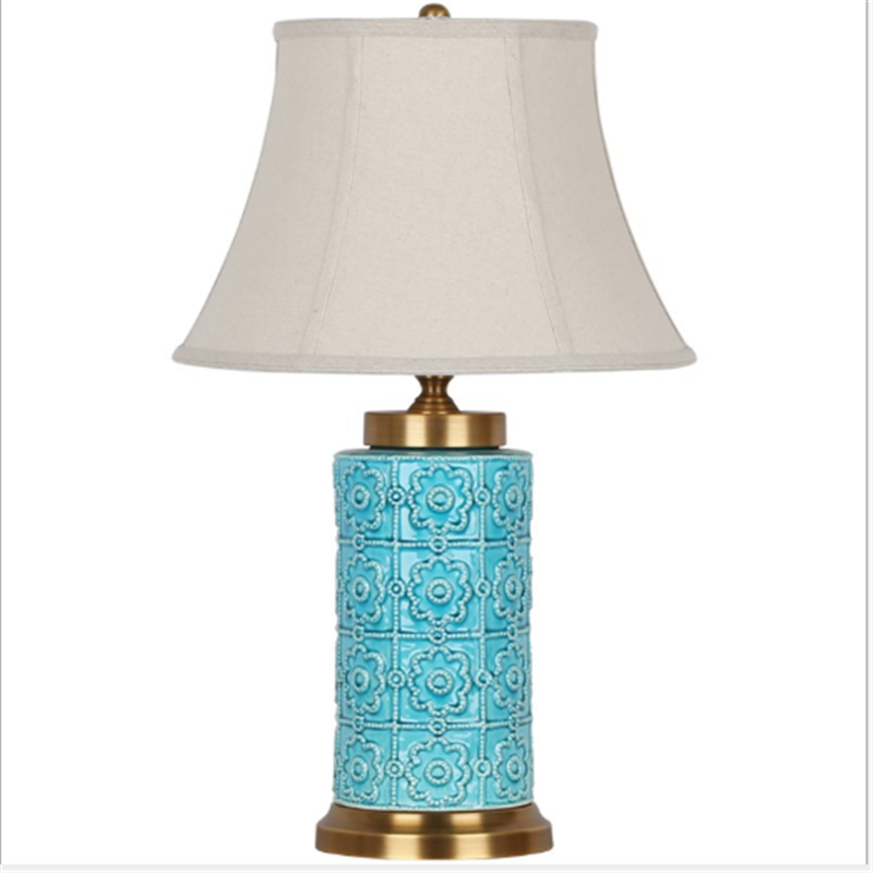 Chinese Style Blue Cylindrical Ceramic Table Lamp For BedRoom Bedside Living Room Foyer Study Desk Reading Night Light190174