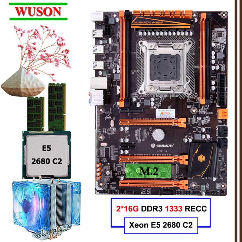 Build PC HUANANZHI deluxe X79 LGA2011 gaming motherboard set <font><b>Xeon</b></font> E5 <font><b>2680</b></font> C2 with CPU cooler RAM 32G(2*16G) DDR3 1333MHz RECC image