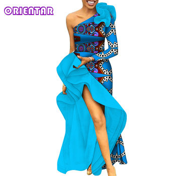 2020 Fashion Women African Dress for Party Evening One Shoulder Ankara Long Slitted Dress Private Custom African Clothes WY6279