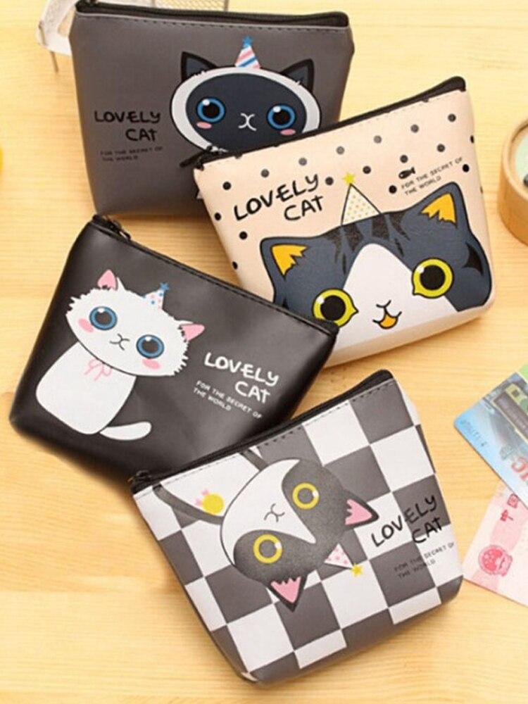 Cute Cat PU Coin Change Purse Kids Wallet Girls Money Bag Children Gift Women LI