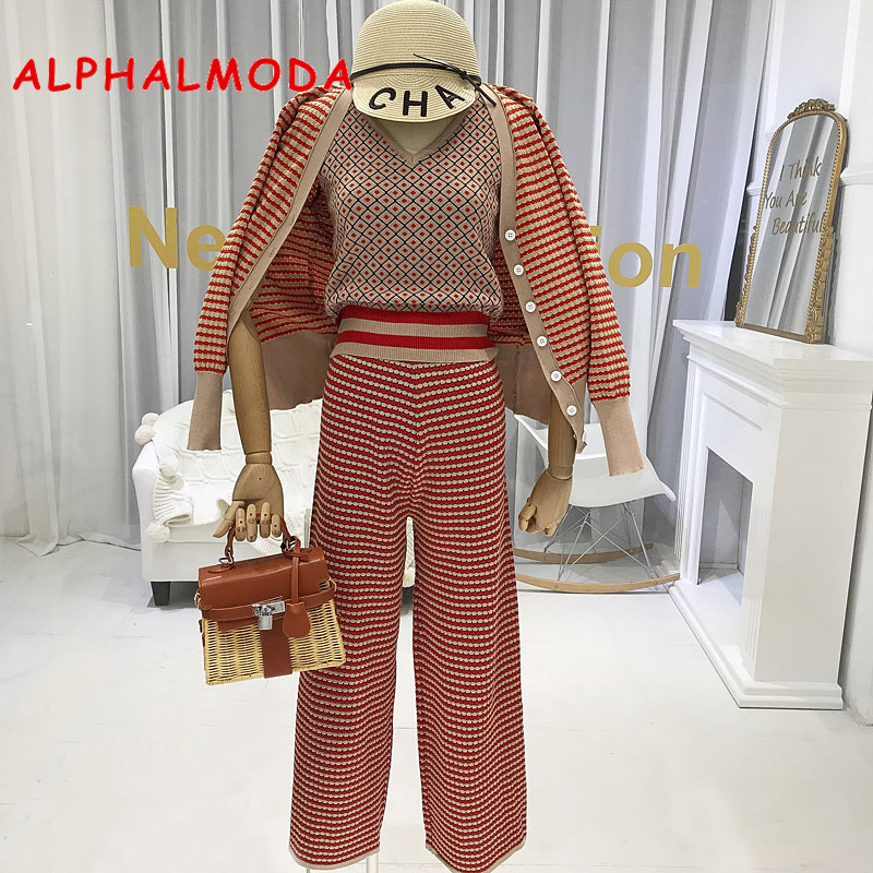 ALPHALMODA New Colour Striped Cardigan Jacket + Suspender Vest + Side Slit Skinny Broad-legged Pants Women Early Autumn Outfit
