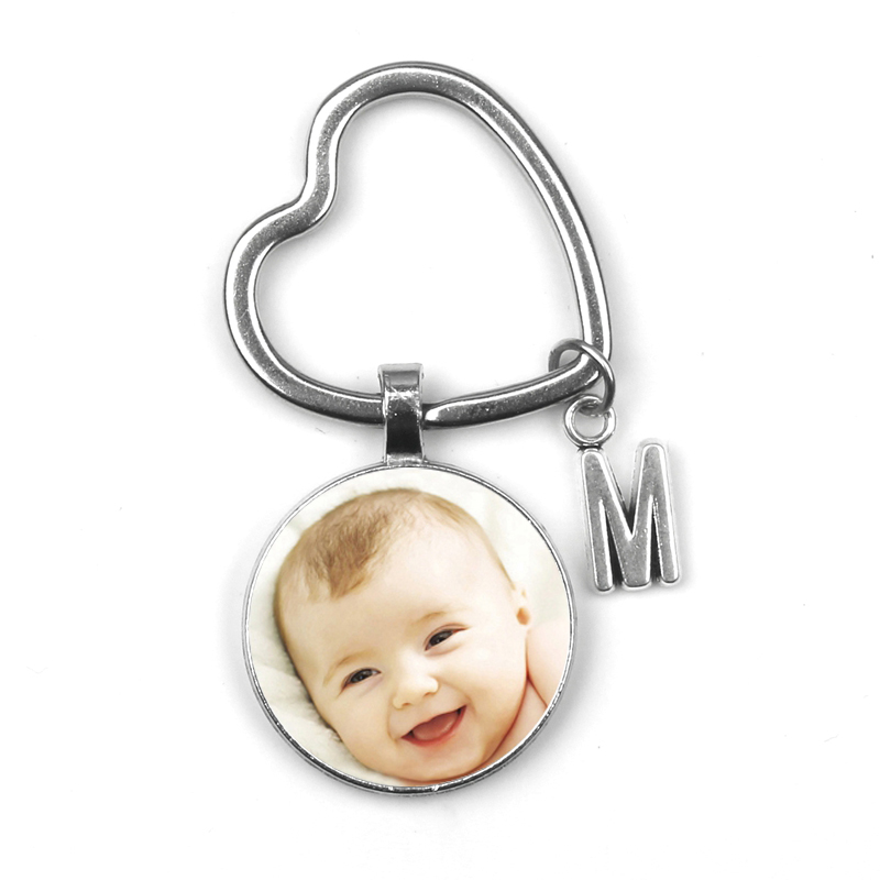 Personalized Pendant Photo Photo Baby Child Dad Family Portrait Keychain  Mom Brother Heart Shaped Grandparents Private Custom