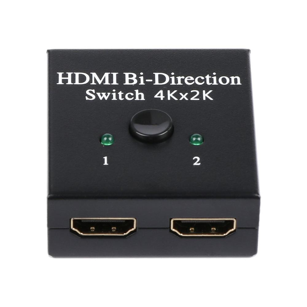 2-Port HDMI Bi-directional Switch 2x1 Switcher 1x2 Splitter Selector 3D Supports HDTV, Blu-ray Player, Smart TV Box, Etc GT