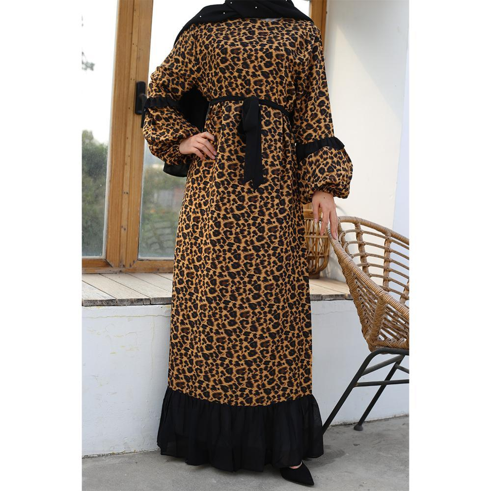Elegant Muslim Leopard Vestidos Abaya Full Dresses Cardigan Kaftan Kimono Long Robe Gowns Tunic Jubah Ramadan Eid Arab Islamic