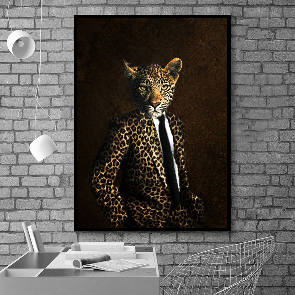 Vintage Leopard Head Animal Gentleman Canvas Painting Picture and Prints Canvas Posters for Living Room Wall Art Home Decoration(China)