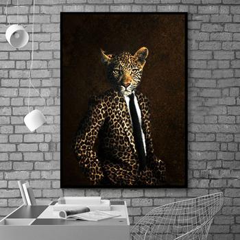 Vintage Leopard Head Animal Gentleman obraz na płótnie i reprodukcje plakaty na płótnie do salonu dekoracja ścienna artystyczny dom tanie i dobre opinie Si Di Ke Obrazy olejne Mieszkanie Wodoodporny tusz Zwierząt Unframed Nowoczesne HZ11479 Malowanie natryskowe Poziome Prostokąt