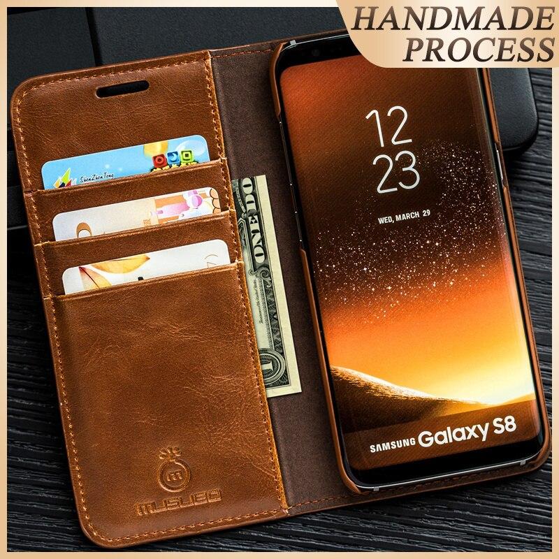 Musubo Funda de cuero con soporte de lujo para Samsung Galaxy S9 Plus S7 Edge S8 Nota 5 4 cubierta de capa coque para fundas iPhone X 8 Plus 7 6 6s 5s 5 funda