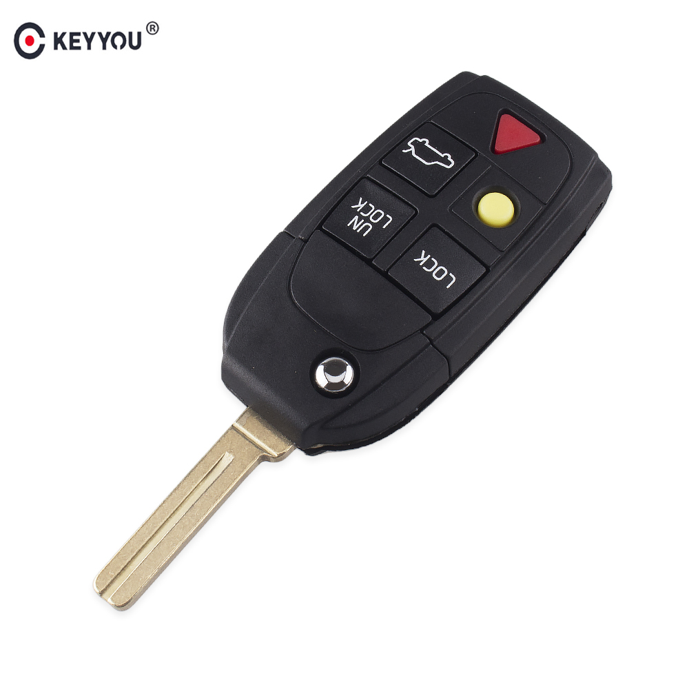 KEYYOU New Replacement 5 Buttons Remote Flip Folding Key Shell For Volvo XC70 XC90 V50 V70 S60 S80 C30 Fob Car Key Case