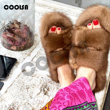 Fashion Mink Fur Shoes Vison Slides Women Fur Slippers Fluffy Real Mink Sleepers Flat Heel Flip Flop Casual Hot Femme Pantoufles