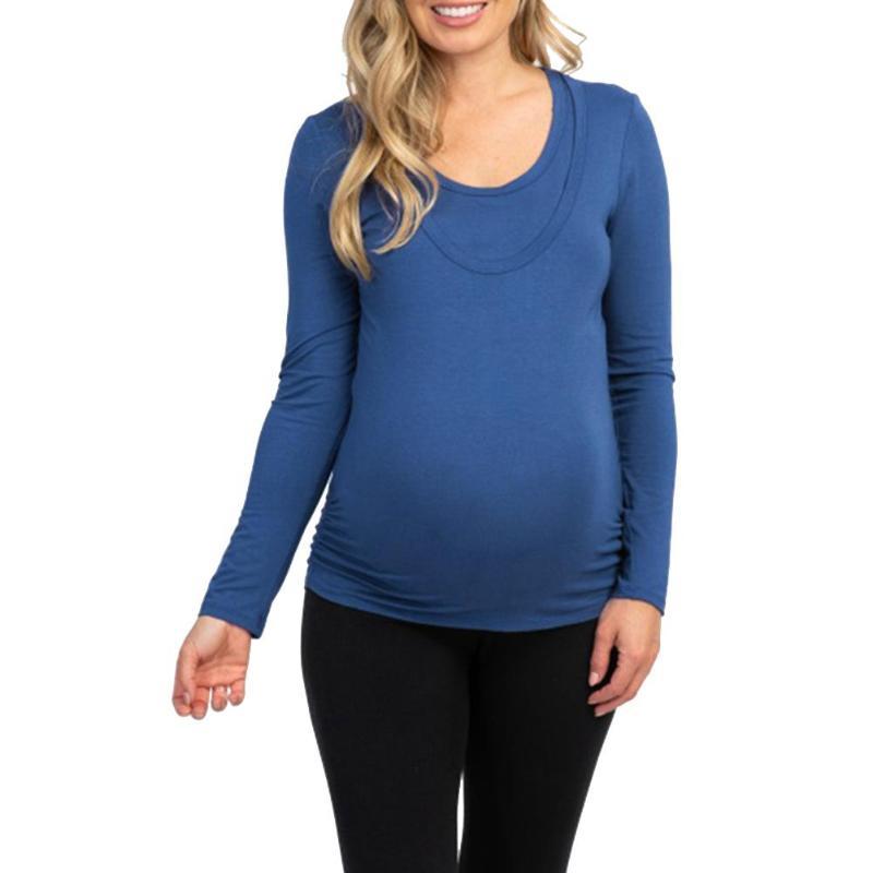 Женская Повседневная футболка для грудного вскармливания, Женская однотонная хлопковая Лоскутная одежда с длинными рукавами для