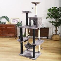 Juguete de salto para mascotas con escalera rascador árbol de escalada de madera para gatos Marco de escalada muebles para gatos poste de rascar #0201