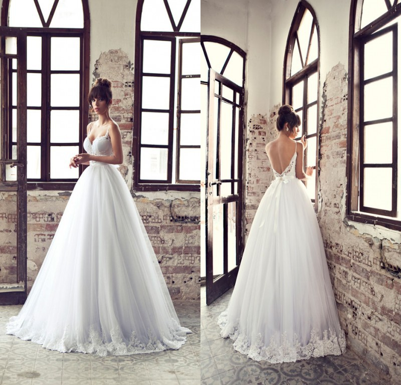 2015 Hot Wedding Dress Ball Gown Spaghetti Straps Floor Length Lace Backless Bridal Gown Custom Made EM00219
