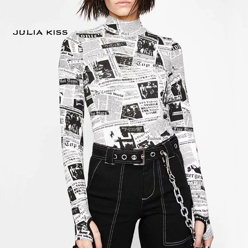 Women Turtleneck Long Sleeve T-shirt In Newspaper Print With Thumb Holes